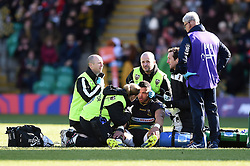 Luther Burrell of Northampton Saints is treated for an injury - Mandatory byline: Patrick Khachfe/JMP - 07966 386802 - 17/03/2019 - RUGBY UNION - Frankin's Gardens - Northampton, England - Northampton Saints v Saracens - Premiership Rugby Cup Final