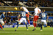 Charlton Athletic midfielder Johnnie Jackson heads home the first goal during the Sky Bet Championship match between Birmingham City and Charlton Athletic at St Andrews, Birmingham, England on 21 November 2015. Photo by Alan Franklin.