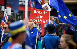 © Licensed to London News Pictures. 12/06/2018. London, UK. Pro EU campaigners gather outside the Houses of Parliament in London on the day. The Commons will vote later on whether to give MPs a decisive say on any final deal struck with the EU in the autumn. Photo credit: Ben Cawthra/LNP