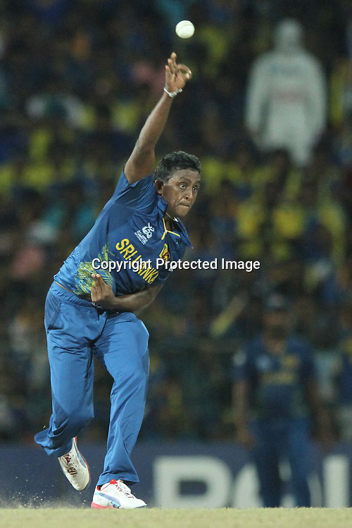 Ajantha Mendis of Sri Lanka delivers a ball during the ICC World Twenty20 final between Sri Lanka and the West Indies held at the Premadasa Stadium in Colombo, Sri Lanka on the 7th October 2012.<br /> <br /> Photo by Sanka vidanagama/SPORTZPICS/PHOTOSPORT