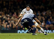 Ospreys' James King under pressure from Cardiff Blues' Taufa'ao Filise<br /> <br /> Photographer Simon King/Replay Images<br /> <br /> Guinness PRO14 Round 21 - Cardiff Blues v Ospreys - Saturday 28th April 2018 - Principality Stadium - Cardiff<br /> <br /> World Copyright © Replay Images . All rights reserved. info@replayimages.co.uk - http://replayimages.co.uk