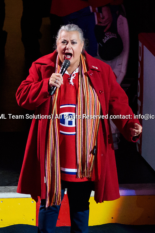 MONTREAL, QC - APRIL 12: Ginette Reno signing the Canadian National Anthem before the first period of Game One of the Eastern Conference First Round series of the 2017 NHL Stanley Cup Playoffs between the New York Rangers and the Montreal Canadiens on April 12, 2017, at the Bell Centre in Montreal, QC (Photo by Vincent Ethier/Icon Sportswire)
