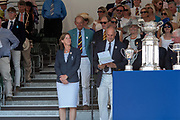 "Henley on Thames, United Kingdom, 8th July 2018, Sunday, View,  ""Fifth day"", of the annual,  ""Henley Royal Regatta"", Henley Reach, River Thames, Thames Valley, England, © Peter SPURRIER, Prize Giving, , Prize Giver Dame, Katherine GRAINGER, Regatta Chairman, Sir Steve REDGRAVE,"