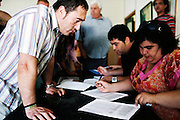 Unemployed neighbors from Moron de la Frontera  subscribe to a temporary working list, Moron de la Frontera, Andalucia, Spain.