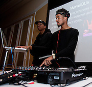 """DJ """"Superstar Smit,"""" right, and his manager Ty provide the music at the All Black Affair at Baker University Center Ballroom at Ohio University on Friday, January 29, 2016. © Ohio University / Photo by Sonja Y. Foster"""