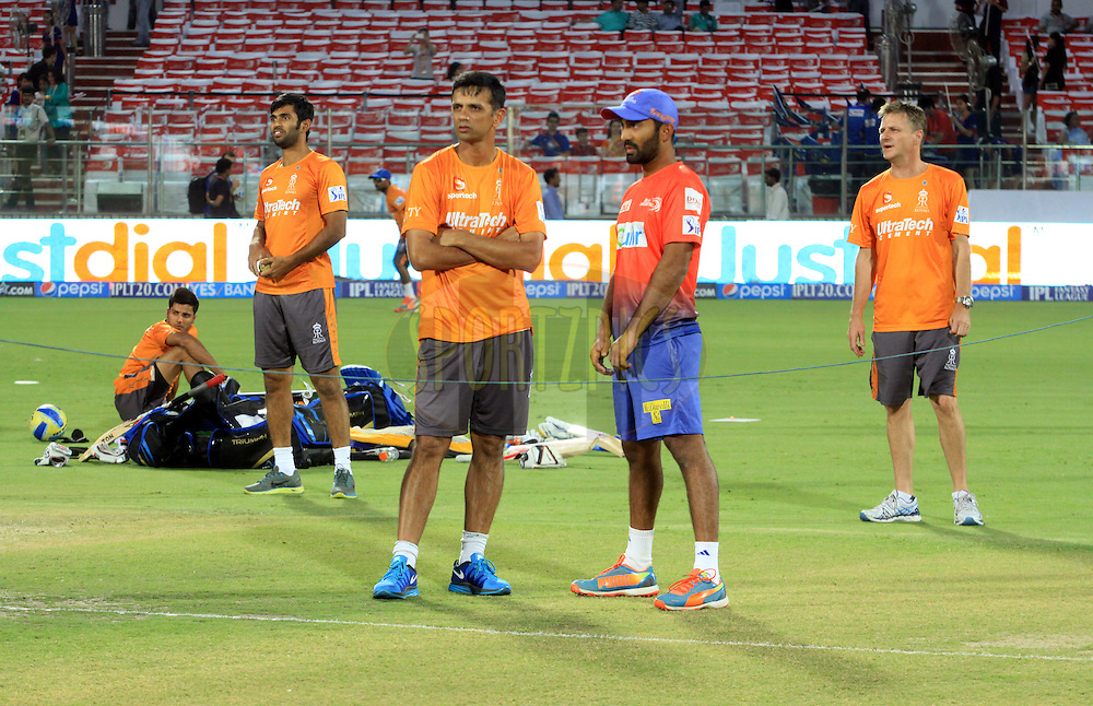 Rahul Dravid mentor of Rajasthan Royals3((L) with team players during match 23 of the Pepsi Indian Premier League Season 2014 between the Delhi Daredevils and the Rajasthan Royals held at the Feroze Shah Kotla cricket stadium, Delhi, India on the 3rd May  2014<br /> <br /> Photo by Arjun Panwar / IPL / SPORTZPICS<br /> <br /> <br /> <br /> Image use subject to terms and conditions which can be found here:  http://sportzpics.photoshelter.com/gallery/Pepsi-IPL-Image-terms-and-conditions/G00004VW1IVJ.gB0/C0000TScjhBM6ikg