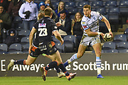 Jason Harries sells Edinburgh players a dummy before going on to score try during the Guinness Pro 14 2018_19 match between Edinburgh Rugby and Cardiff Blues at Murrayfield Stadium, Edinburgh, Scotland on 23 February 2019.
