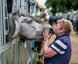 6 year old Highland pony Skye from Acrington, Lancashire nuzzles up to visiting groom Andrea Wilson from Ayr during final preparations for this years Royal Highland Show at Ingliston near Edinburgh.<br /> <br /> &copy; Dave Johnston/ EEm
