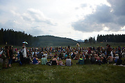 Dinner Circle.  Rainbow Gatherings started back in 1972, acts of self-expression, inclusiveness, and the right to peacefully assemble. Rainbow Gathering 2013 was held in Montana, outside of Jackson.