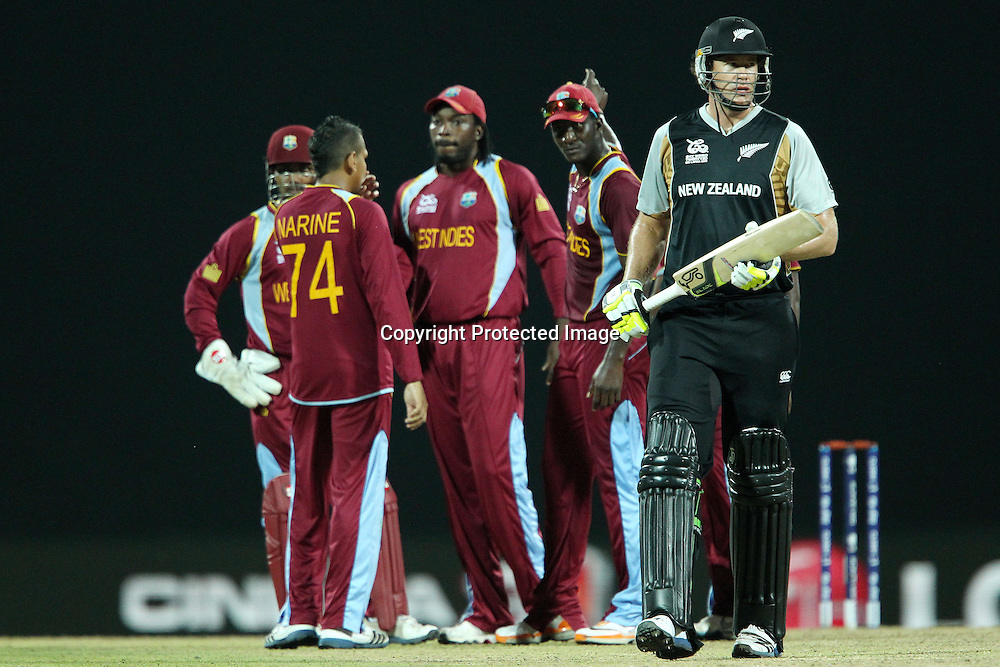 Jacob Oram departs during the ICC World Twenty20 Super Eights match between The West Indies and New Zealand held at the  Pallekele Stadium in Kandy, Sri Lanka on the 1st October 2012<br /> <br /> Photo by Ron Gaunt/SPORTZPICS/PHOTOSPORT