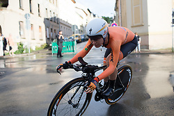 Amy Pieters (NED) of Team Netherlands leans into a corner during the prologue of the Lotto Thuringen Ladies Tour - a 6.1 km individual time trial, starting and finishing in Gera on July 12, 2017, in Thuringen, Germany. (Photo by Balint Hamvas/Velofocus.com)