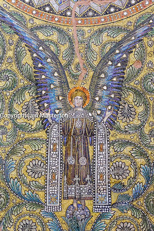 Detail of ornate mosaic on roof of Kaiser Wilhelm memorial church (Gedachtniskirche) interior on Kurfurstendamm, Berlin, Germany