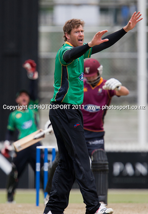 Stags' Jacob Oram appeals for lbw after bowling to AP Devcich during the Ford Trophy Cricket - Northern Knights v Central Stags one day match, at Seddon Park, Hamilton, New Zealand, 11 December 2011. Photo: Stephen Barker/photosport.co.nz