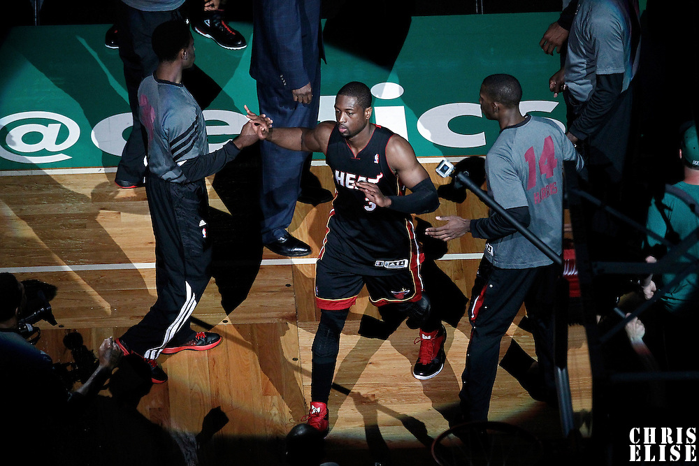 01 June 2012: Miami Heat shooting guard Dwyane Wade (3) is seen during the players introduction prior to the Boston Celtics 101-91 victory over the Miami Heat, in Game 3 of the Eastern Conference Finals playoff series, at the TD Banknorth Garden, Boston, Massachusetts, USA.
