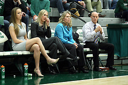 10 January 2015:  Olivia Lett and Jenn Watson and Mia Smith and Chad Cusak during an NCAA women's division 3 CCIW basketball game between the Carthage Reds and the Illinois Wesleyan Titans in Shirk Center, Bloomington IL