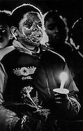 One of the burned survivors attends a candle light vigil for the 27 people killed in a horrific drunken driving accident in Radcliff, Kentucky. On May 14, 1988, 27 children and adults died in the fiery wreck after a drunk driver heading the wrong way on Interstate 71 in Carroll County smashed into a church school bus, puncturing the gas tank. Thirty-four more passengers were injured, many seriously burned while escaping from the flash fire.