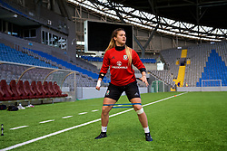 ASTANA, KAZAKHSTAN - Friday, September 15, 2017: Wales' goalkeeper Claire Skinner training at the Astana Arena ahead of the FIFA Women's World Cup 2019 Qualifying Round Group 1 match against Kazakhstan. (Pic by David Rawcliffe/Propaganda)