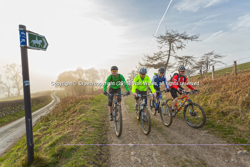 Mountain bikers on Loop de Loop route<br /> Clwydian Range<br /> Ride North Wales<br /> Denbighshire<br /> North<br /> Mountain Biking<br /> Activities and Sports