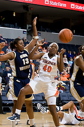 Virginia Cavaliers G Enonge Stovall (40)..The Virginia Cavaliers women's basketball team fell to the #14 ranked George Washington Colonials 70-68 at the John Paul Jones Arena in Charlottesville, VA on November 12, 2007.