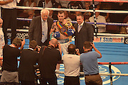 Sam Eggington posses for the photographers and claims the vacant commonwealth welterweight championship during the High Stakes Matchroom Boxing at the Manchester Arena, Manchester, United Kingdom on 18 July 2015. Photo by Mark Pollitt.