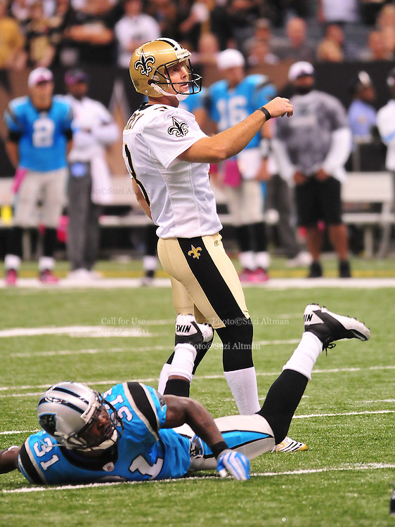 "New Orleans Saints kicker John Carney, recently resigned, is seen kicking one of his 3 field goals for the Saints during their game against the Carolina Panthers Sunday Oct. 3,2010. The NFL has gone ""Pink"" for October in honor of Breast Cancer Awareness. The Saints went on to win 16-14. John Carney kicked three field goals to help the Saints win. PHOTO©SuziAltman.com"