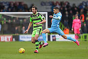 Forest Green Rovers Farrend Rawson(20) under pressure from Coventry City's Maxime Biamou(9) during the EFL Sky Bet League 2 match between Forest Green Rovers and Coventry City at the New Lawn, Forest Green, United Kingdom on 3 February 2018. Picture by Shane Healey.