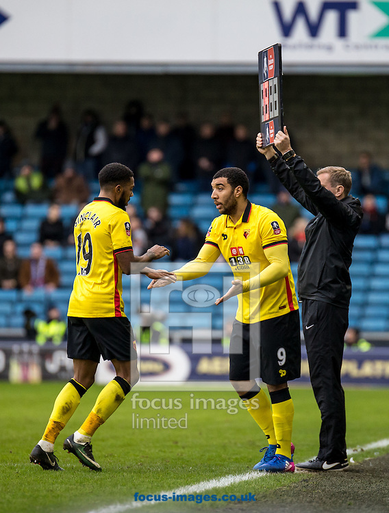 Troy Deeney of Watford prepares to come on for Jerome Sinclair of Watford during the FA Cup match at The Den, London<br /> Picture by Liam McAvoy/Focus Images Ltd 07413 543156<br /> 29/01/2017