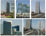 5 image collage of modern architecture in Tel Aviv, Israel, 2006