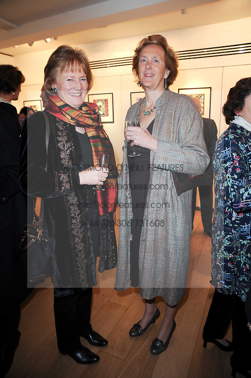 Left to right, ANSTICE BARING and CARLYN CHISHOLM at a private view of recent paintings, drawings and prints by Dione Verulam (Countess of Verulam) held at Sladmore Contemporary art gallery, 32 Bruton Place, London on 10th February 2010.