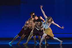 """© Licensed to London News Pictures. 18/11/2014. London, England. Dane Hurst and Hannah Rudd performing at the front, Terra Incognita choreographed by Shobana Jeyasingh.  British dance company """"Rambert"""" perform their new show """"Triptych"""" at Sadler's Wells Theatre from 18 to 22 November 2014. Choreographed by Shobana Jeyasingh with Luke Ahmet, Lucy Balfour, Adam Blyde, Carolyn Bolton, Simone Damberg Würtz, Dane Hurt, Vanessa King, Adam Park, Hannah Rudd and Pierre Tappon dancing. Photo credit: Bettina Strenske/LNP"""