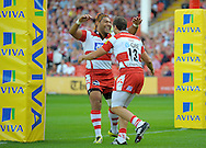 Photo © TOM DWYER / SECONDS LEFT IMAGES 2011 - Gloucester Rugby V Worcester Warriors - Aviva Premiership - Rugby Union - 10/09/11 - Gloucester's Jonny May scores the first try and celebrates with Lesley Vainikolo (L) - at Kingsholm Stadium Gloucester UK - All rights reserved
