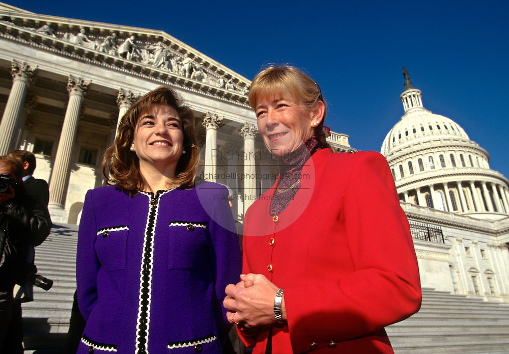 Freshman Congresswomen Carolyn McCarthy (R) and Loretta Sanchez stand outside the US Capitol building January 29, 1996 in Washington, DC.