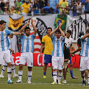 Argentinian players salute the crowd after the Brazil V Argentina International Football Friendly match at MetLife Stadium, East Rutherford, New Jersey, USA. 9th June 2012. Photo Tim Clayton