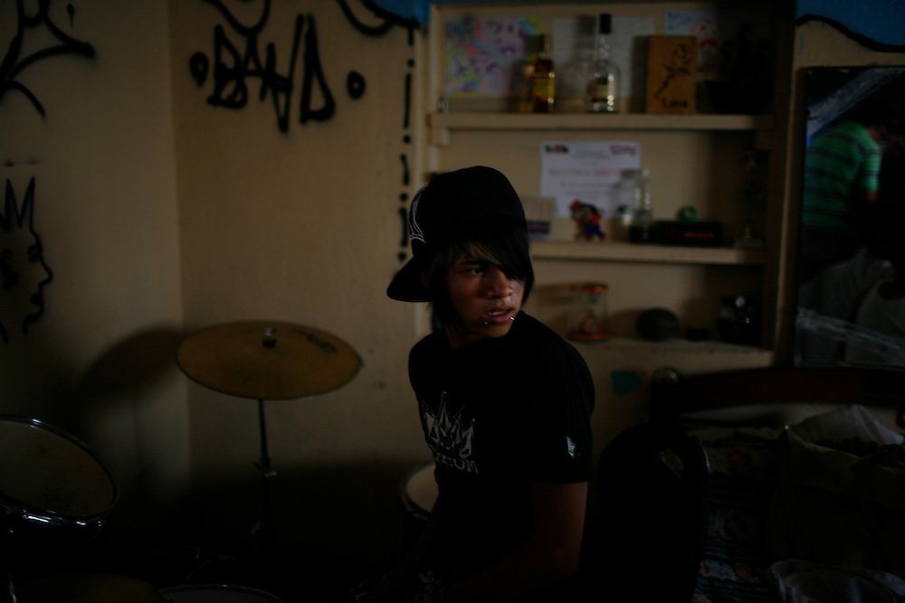 """Juan Miguel, 16, plays drums, with his band """"Toke Azul"""" in the Diaz Ordaz colonia in Ciudad Juarez, Chihuahua Mexico on April 28, 2010."""