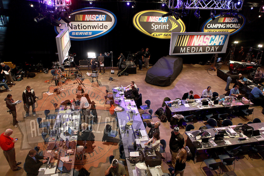 A general overview of the media interview area during the NASCAR Media Day event at Daytona International Speedway on Thursday, February 14, 2013 in Daytona Beach, Florida.  (AP Photo/Alex Menendez)
