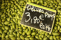 The Saturday market in Uzès, Languedoc, France..picholine olives..October 6, 2007..Photo by Owen Franken for the NY Times...Assignment ID: 30049869A