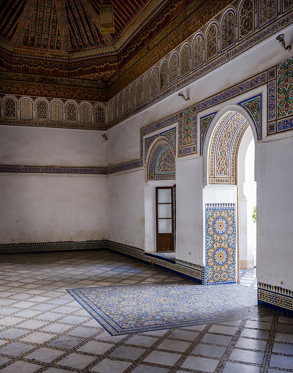 MARRAKESH, MOROCCO - CIRCA APRIL 2017: Interior room of the Bahia Palace in Marrakech