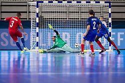 Bolinha of Azerbaijan and Djamel Haroun of France during futsal match between France and Azerbaijan at Day 4 of UEFA Futsal EURO 2018, on February 2, 2018 in Arena Stozice, Ljubljana, Slovenia. Photo by Urban Urbanc / Sportida