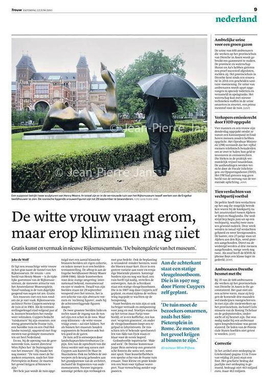 Trouw 22 juni 2013: beelden in de tuin van het Rijksmuseum