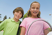 Brother and Sister with Tennis Racket