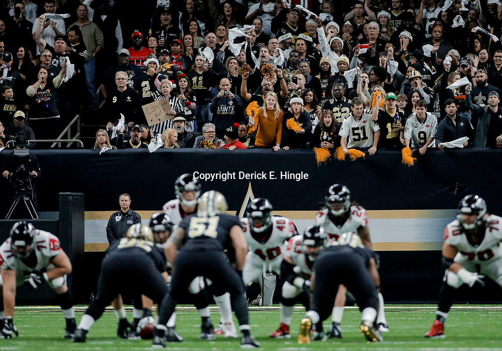 Dec 24, 2017; New Orleans, LA, USA; New Orleans Saints fans cheer during a third down against the Atlanta Falcons during the first quarter at the Mercedes-Benz Superdome. Mandatory Credit: Derick E. Hingle-USA TODAY Sports