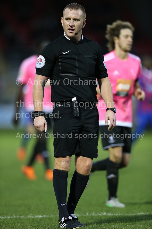 Referee Lee Swabey looks on. The Emirates FA Cup, 2nd round match, Dagenham &amp; Redbridge v Whitehawk FC at the The London Borough of Barking &amp; Dagenham Stadium in London on Sunday 6th December 2015.<br /> pic by John Patrick Fletcher, Andrew Orchard sports photography.