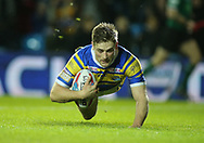Jimmy Keinhorst of Leeds Rhinos dives to score a try  against Hull Kingston Rovers during the Betfred Super League match at Elland Road, Leeds<br /> Picture by Stephen Gaunt/Focus Images Ltd +447904 833202<br /> 08/02/2018