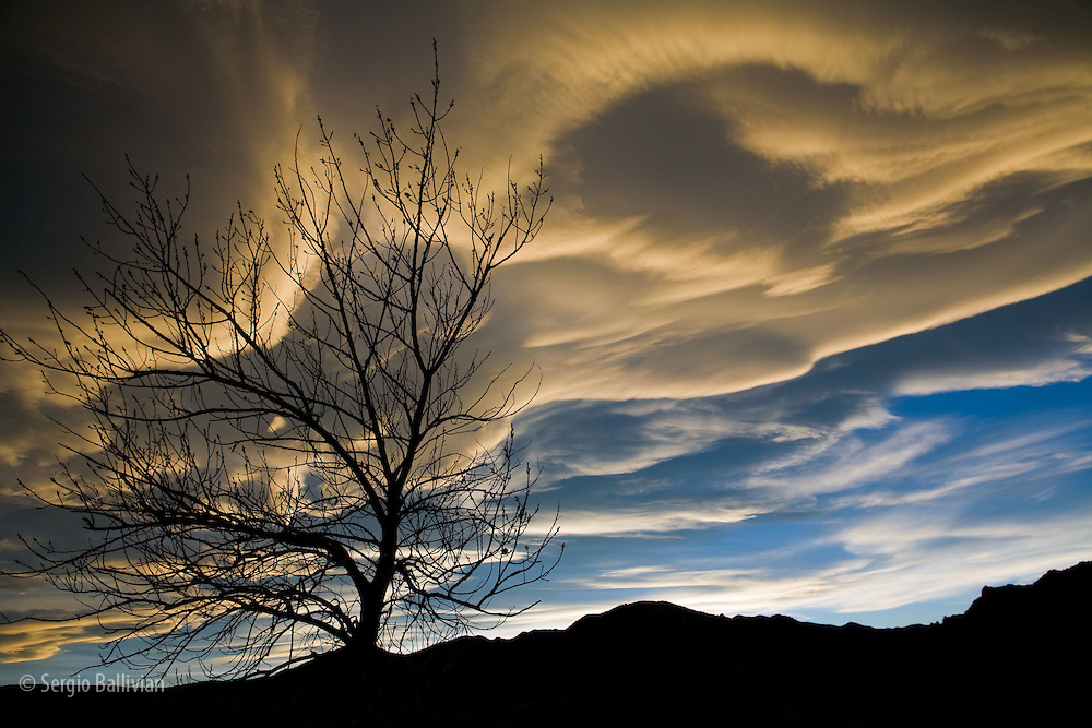 Lenticular clouds change shape and catch the last rays of the sun during a winter sunset in Boulder, CO