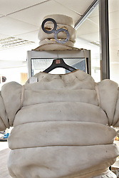 © Licensed to London News Pictures.  03/03/2012. OXFORD, UK. A Mr Bibendum promotional suit complete with black plastic glasses  forms part of a classic car auction sale being held at Bonhams Oxford today. The lot  is estimated to sell for £700-900. Photo credit :  Cliff Hide/LNP