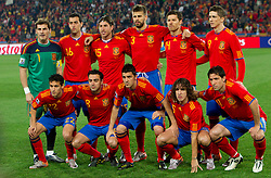 Team of Spain, 1st line (from L): Jesus Navas, Xavi, David Villa, Carles Puyol and Joan Capdevila, 2nd line: Iker Casillas, Sergio Busquets, Sergio Ramos, Gerard Pique, Zabi Alonso and Fernando Torres during the 2010 FIFA World Cup South Africa Group H Second Round match between Spain and Honduras on June 21, 2010 at Ellis Park Stadium, Johannesburg, South Africa.   (Photo by Vid Ponikvar / Sportida)