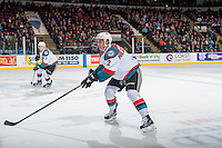 KELOWNA, CANADA - FEBRUARY 18: James Hilsendager #2 of the Kelowna Rockets defends the offensive zone against the Prince George Cougars on February 18, 2017 at Prospera Place in Kelowna, British Columbia, Canada.  (Photo by Marissa Baecker/Shoot the Breeze)  *** Local Caption ***