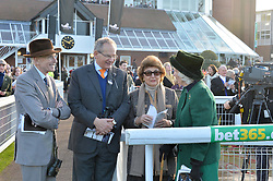 Left to right, the HON.SIR DAVID SIEFF, ROBERT WALEY-COHEN, LADY SIEFF and CATHERINE HENDERSON at the 2014 Hennessy Gold Cup at Newbury Racecourse, Newbury, Berkshire on 29th November 2014.  The Gold Cup was won by Many Clouds ridden by Leighton Aspell.