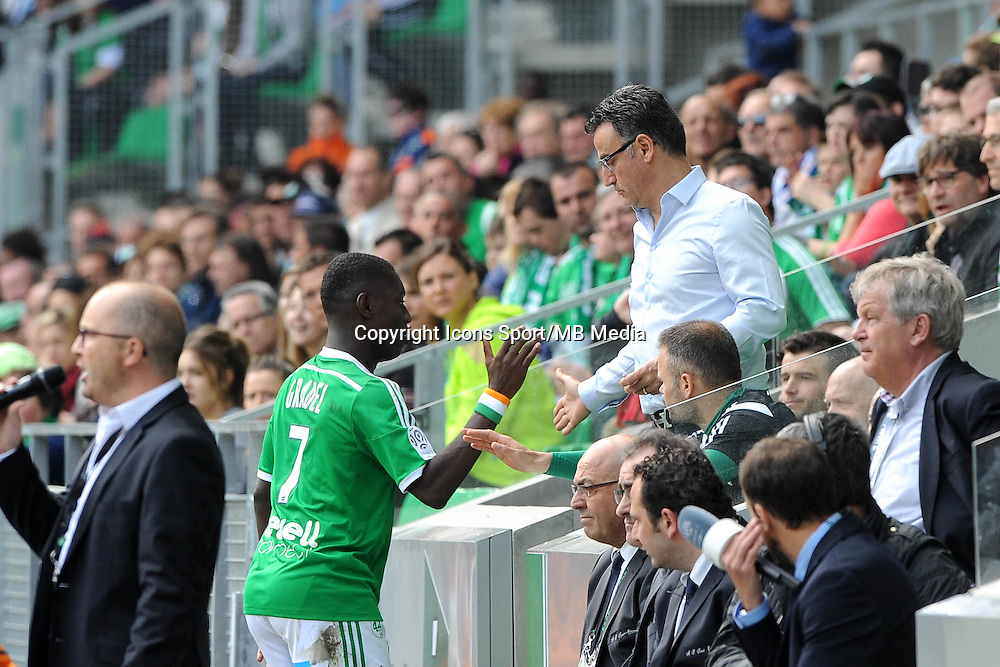 Christophe GALTIER / Max Alain GRADEL - 26.04.2015 - Saint Etienne / Montpellier - 34eme journee de Ligue 1<br />