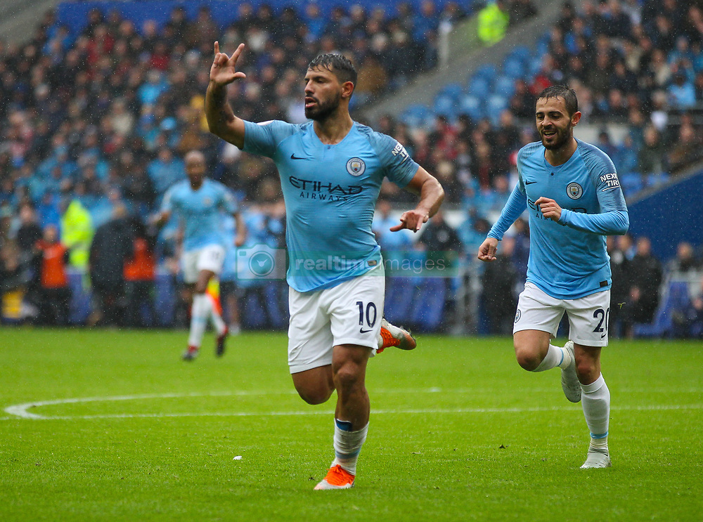 September 22, 2018 - Cardiff City, England, United Kingdom - Sergio Aguero of Manchester City celebrates after scoring his sides first goal in the 32nd minute during the Premier League match between Cardiff City and Manchester City at Cardiff City Stadium,  Cardiff, England on 22 Sept 2018. (Credit Image: © Action Foto Sport/NurPhoto/ZUMA Press)